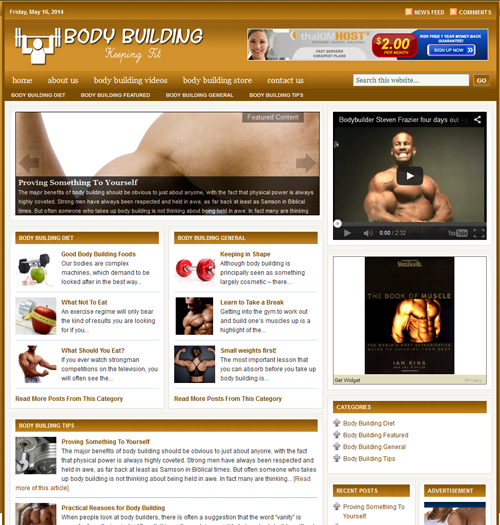 Fully Automated Wordpress Body Building Website - 100% Autopilot - SEO Ready Website