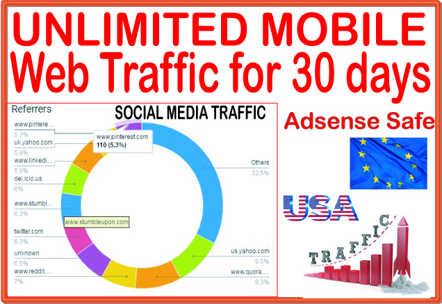 UNLIMITED targeted organic Mobile web traffic for 30 days from main search engines & social site