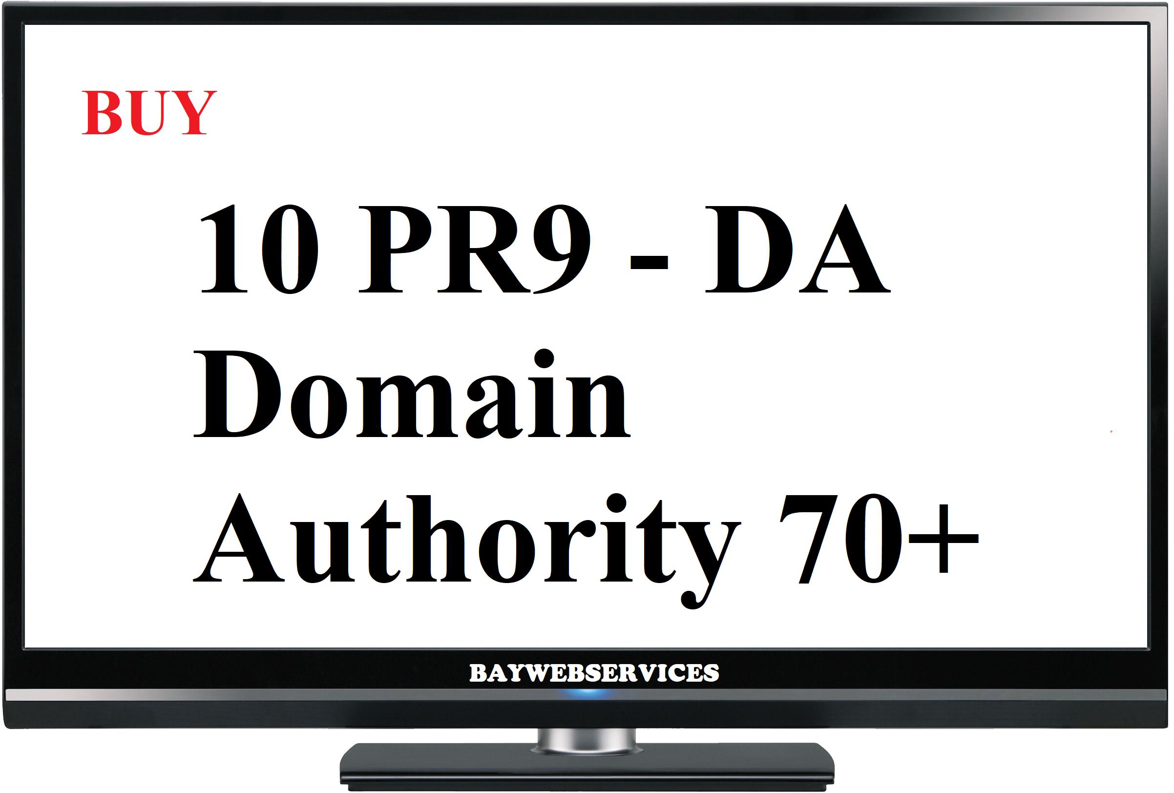 10 PR9 - DA Domain Authority 70+ Backlinks