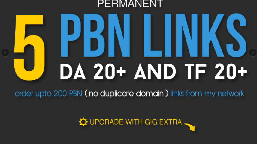 Permanent 5 PBN Links - DA 20+ and TF 20