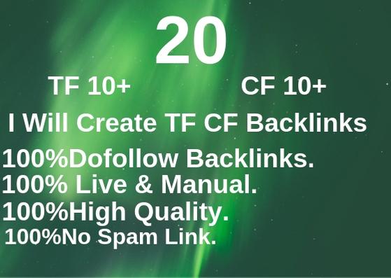 Create 20 TF CF Backlinks And High Quality Da Pa