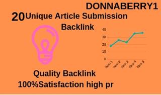 Provide 20 Unique Article Submission With Unique Doma...