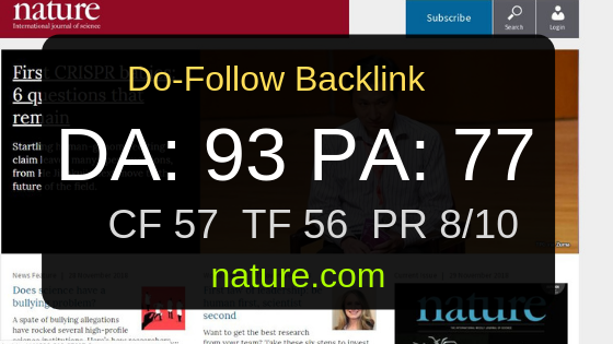 I can write and publish with Do-Follow backlinks on nature.com