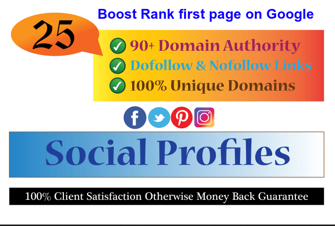 create High DA 100 social profiles setup or profile creations backlinks