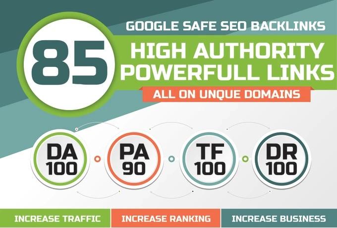 Build 85 Unique Domain SEO Backlinks On Tf 100 Da 100 Sites