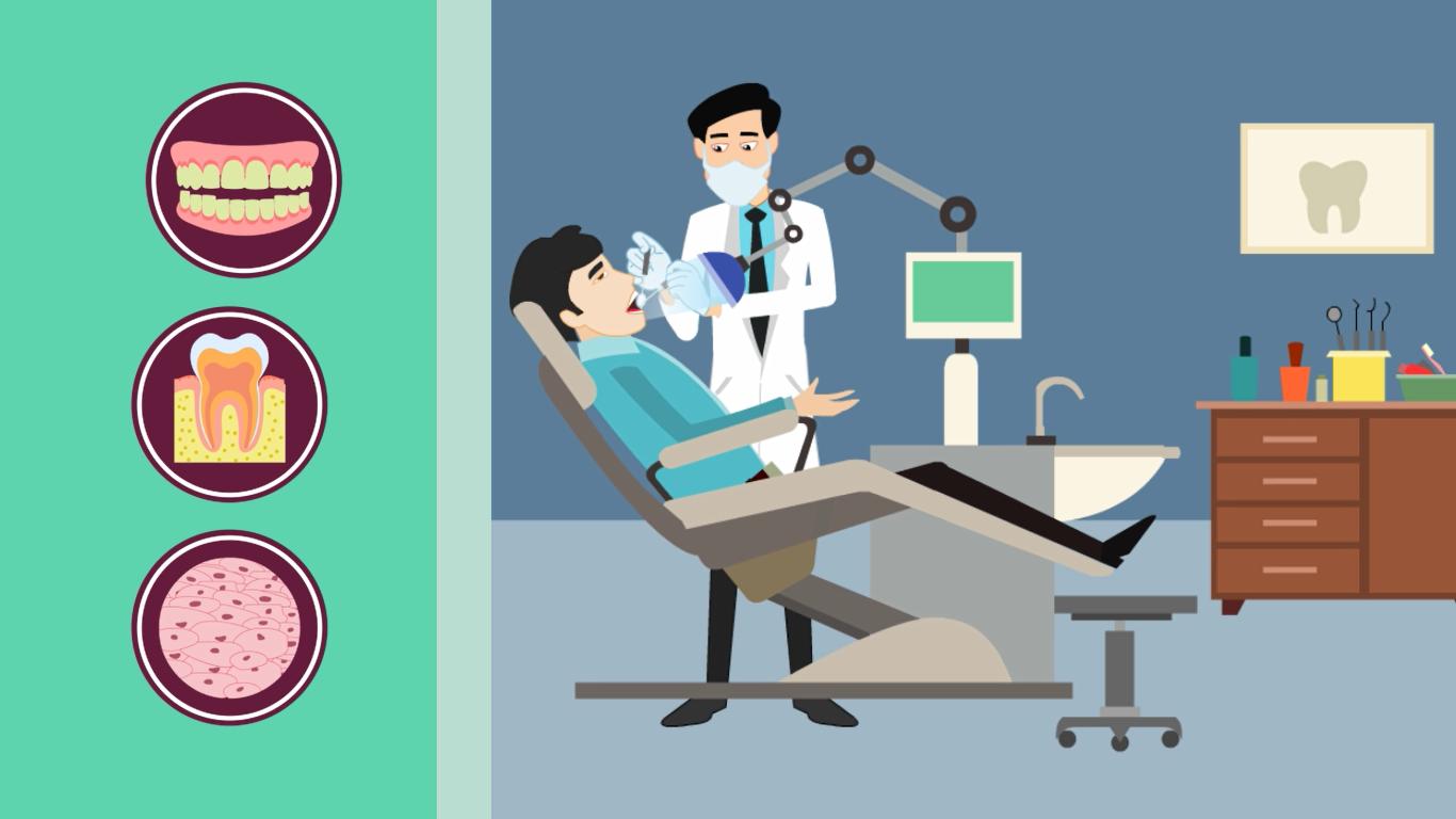 I make dentist 2d animated explainer dental tooth ache video