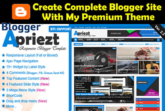 create blogger blog with premium and SEO friendly theme