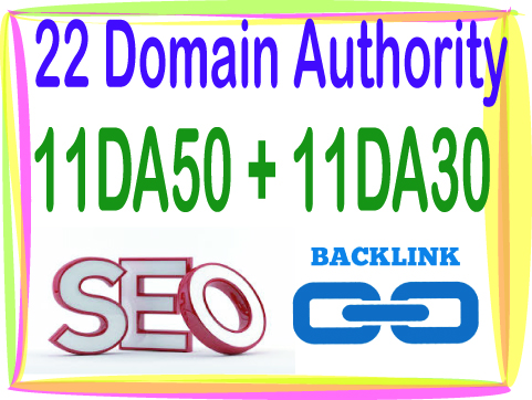 Do 22 DA Domain Authority 11 DA50 - 11 DA30-High Quality PR9 backlinks