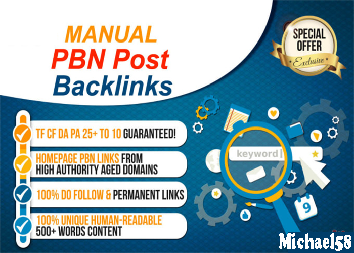 Google Ranking 50 HQ DA/PA TF/CF Homepage PBNs Backlinks For Your Website