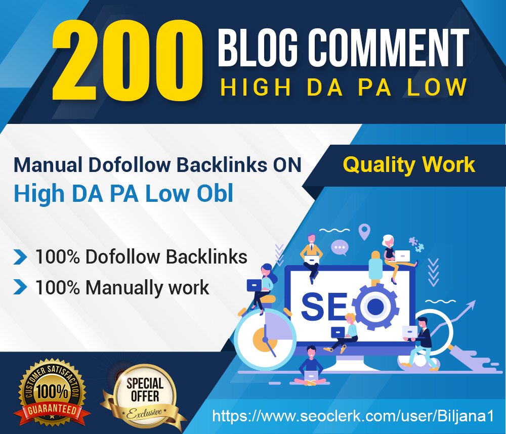 Provide 200 High Da Pa Blog Comment With Low Obl Links
