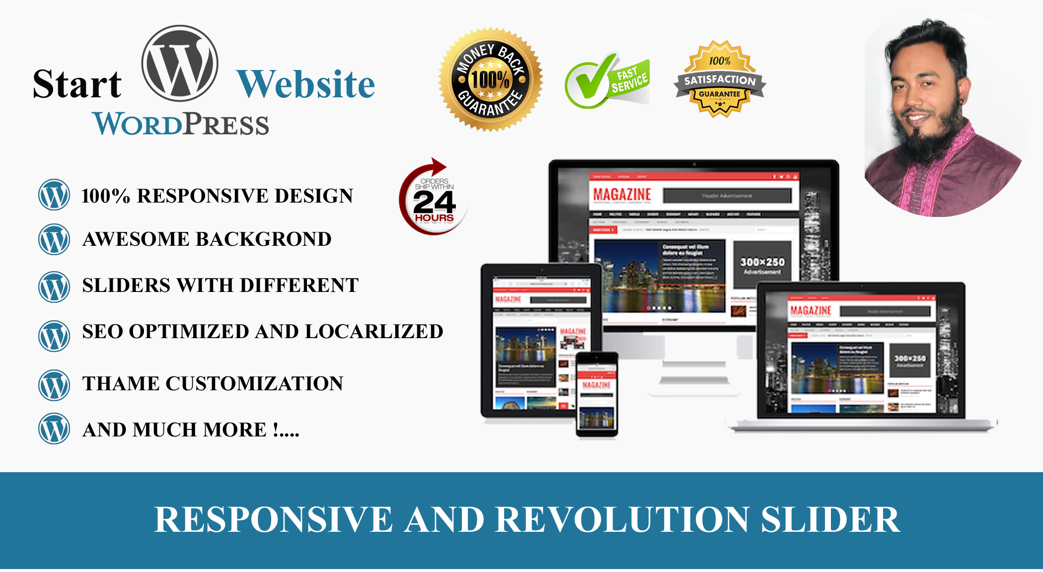 do responsive design or redesign WordPress within 24h