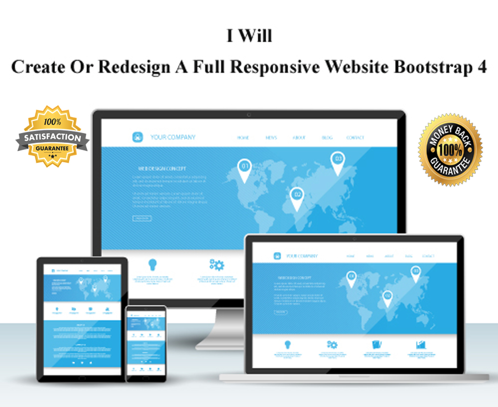 design a full responsive website with bootstrap or ht...