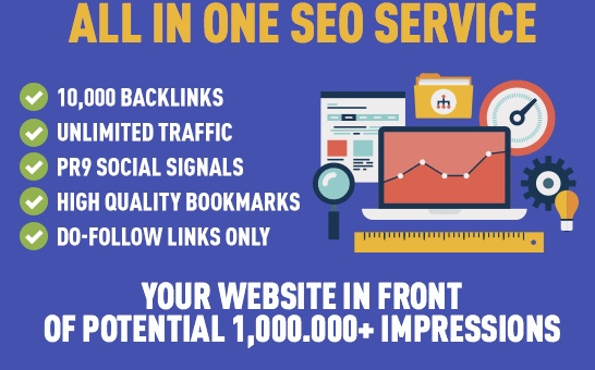 RANK IN THE TOP 10 - 10,000 Backlinks - 500 Signals - UNLIMITED Traffic