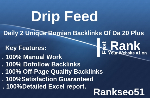 Drip Feed, Daily 2 Unique Domian Backlinks Of Da Pa