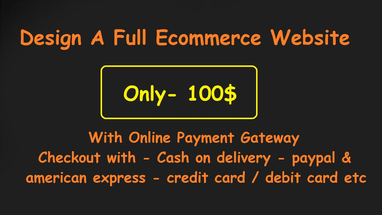 Create A Full Ecommerce Website