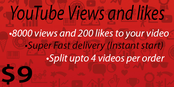 8000 vie ws and 200 lik es to your YouTube video [Instant Start]