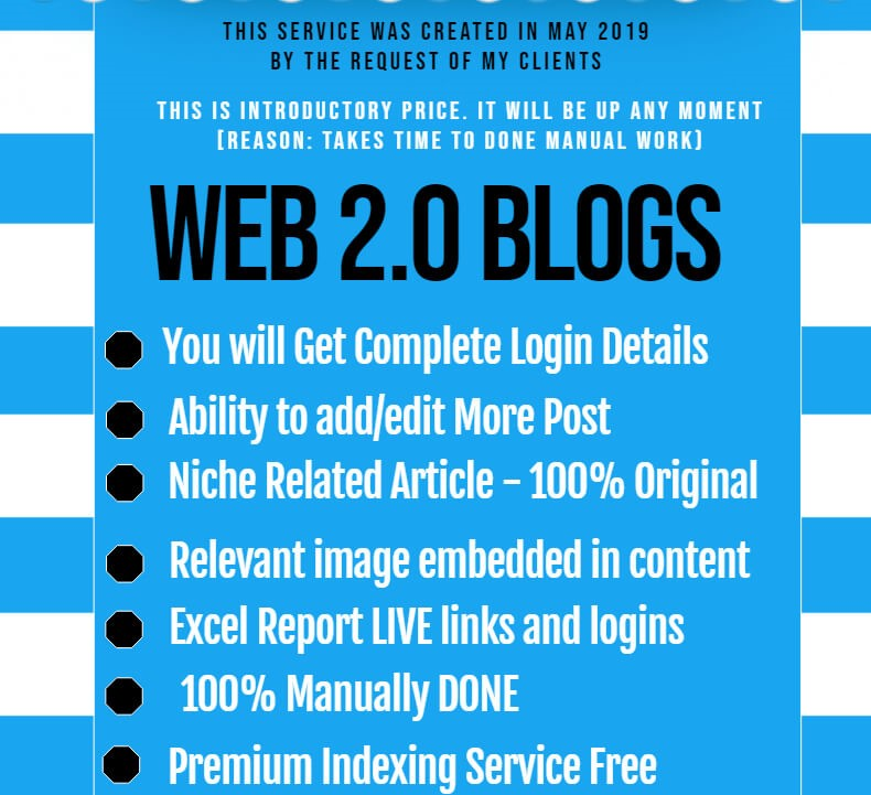 Manually DONE 30 Web 2. Blogs Premium Backlinks with Login to Boost SEO