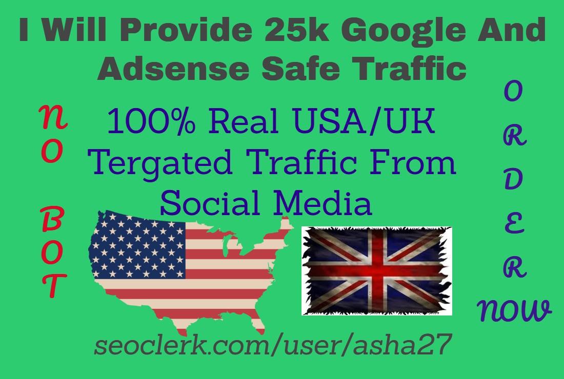 Provide 25k Google And Adsense Safe Traffic