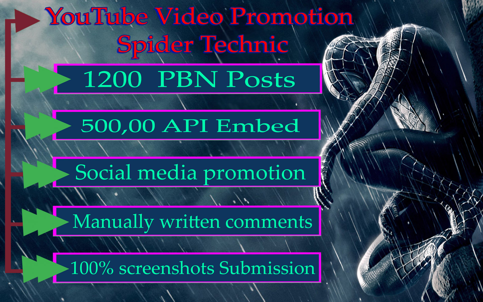 Spider Technic YouTube Video viral Promotion