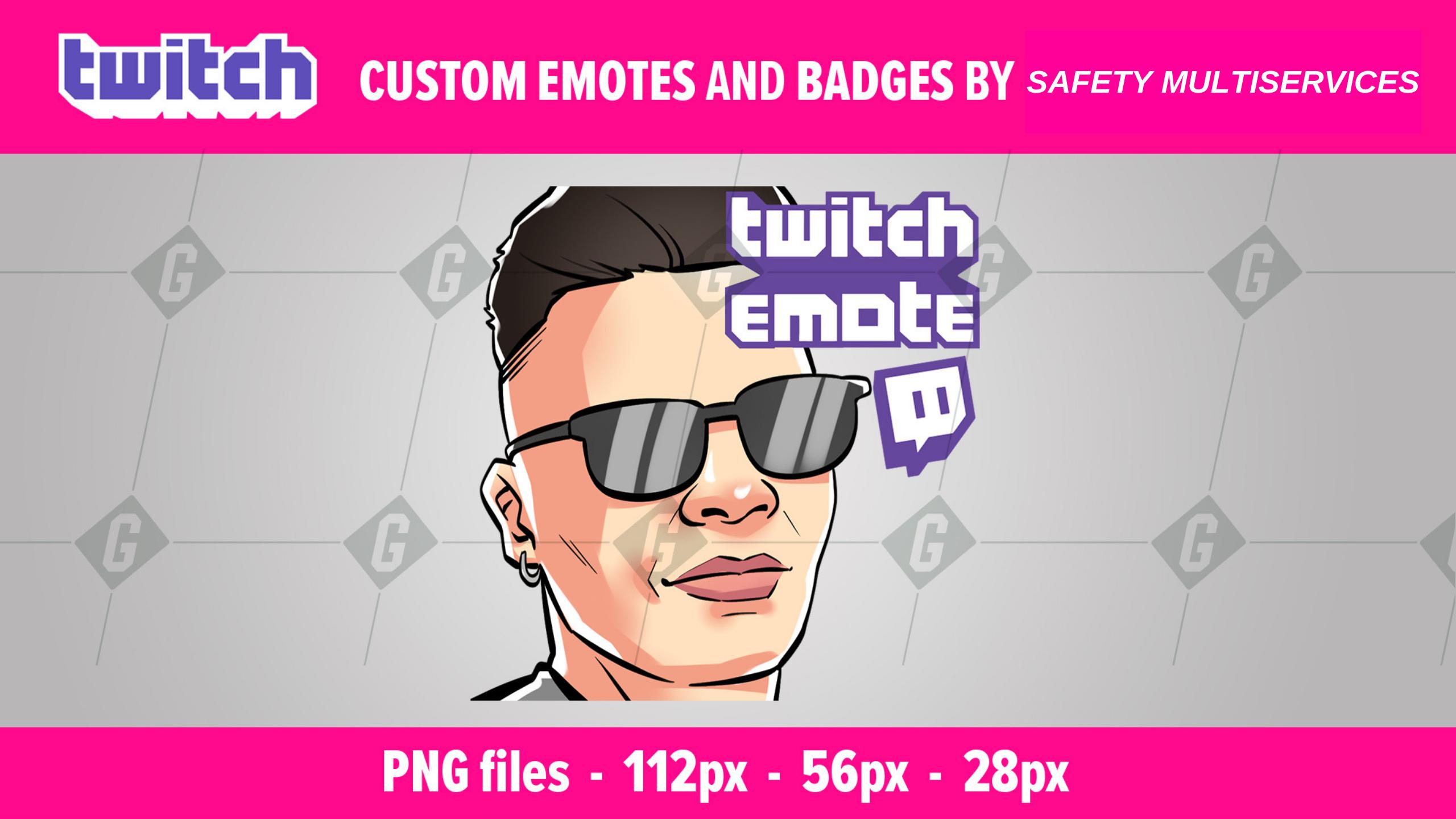 i will make cartoon twitch emote,  sub badges,  avatar esport