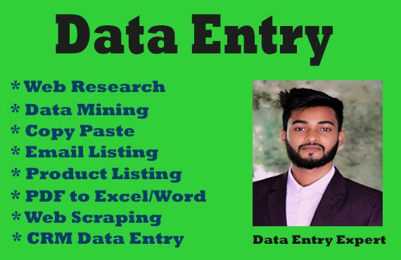 Need a VA For Data Entry,  Data Mining,  Copy Paste,  Web Research