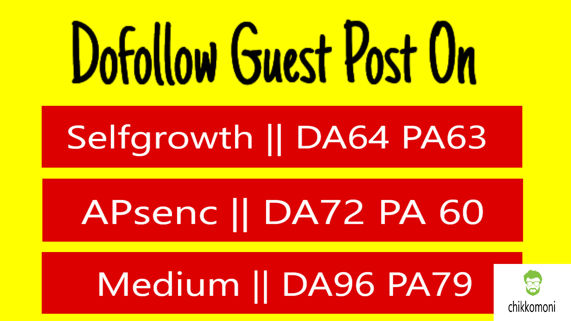 Write & publish 3 guest blog DA 96,  72,  64 sites with dof. Link