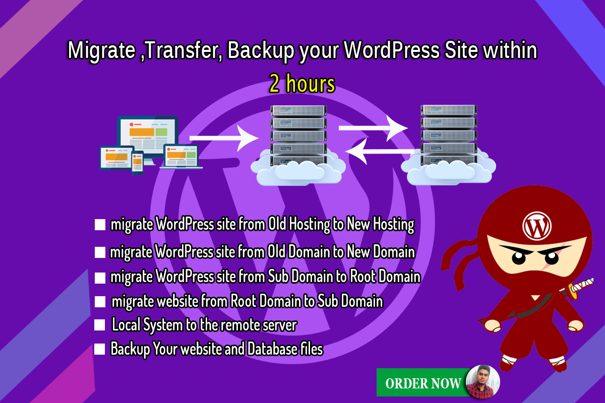Migrate, transfer,  backup your wordpress site within 2 hours