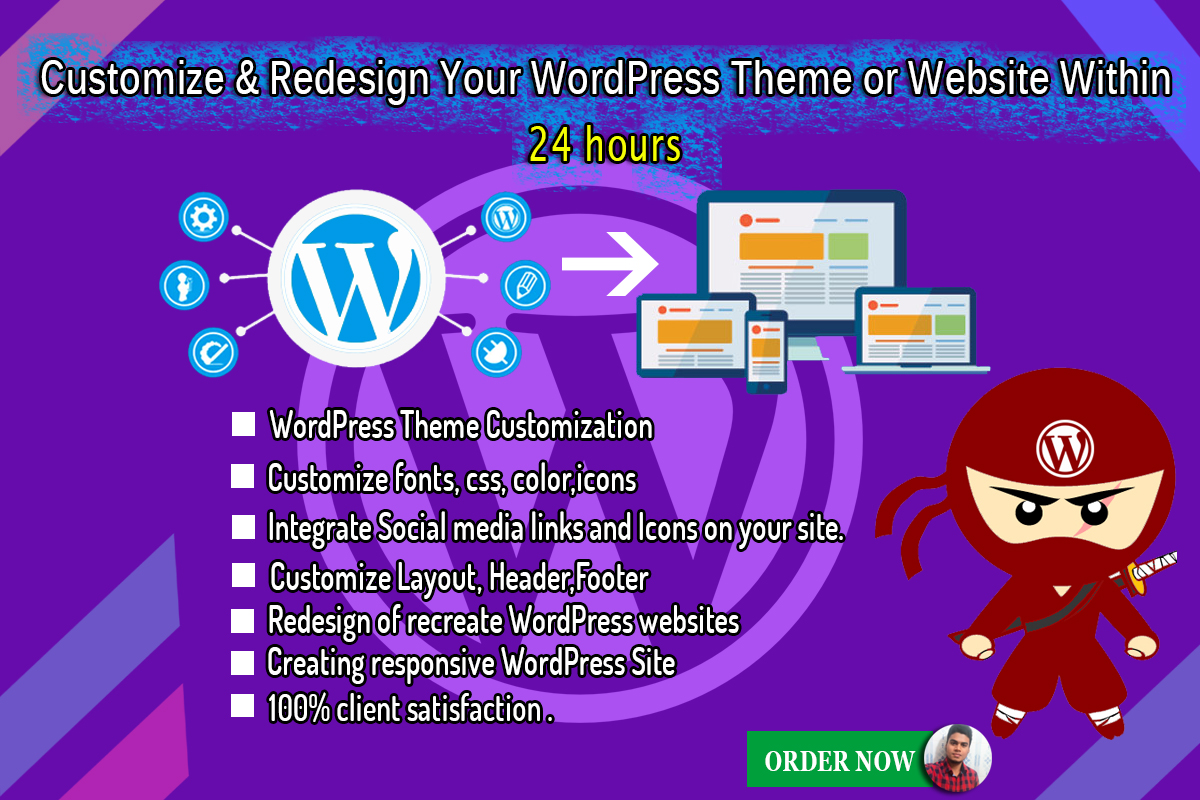 Customize and redesign your wordpress website within 24 hours