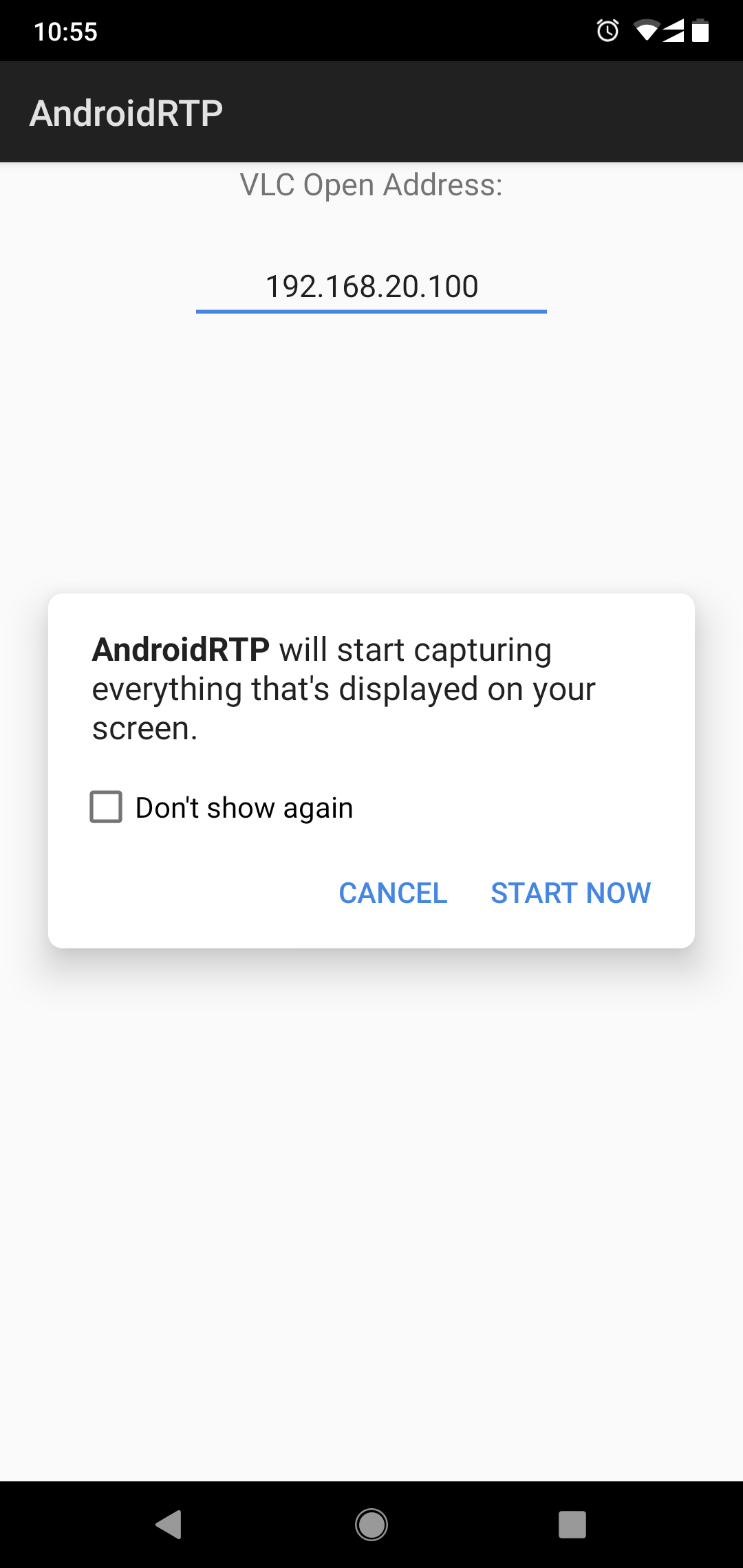 Stream Android Screen to VLC via RTP packet