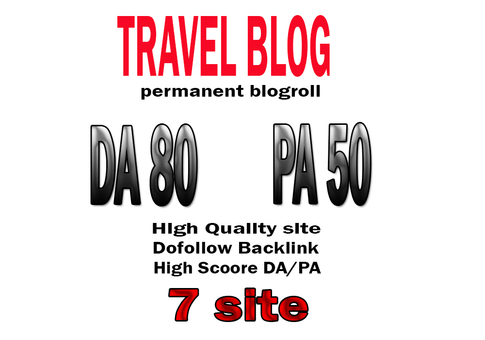your backlink on DA80x7 travel permanent blogroll