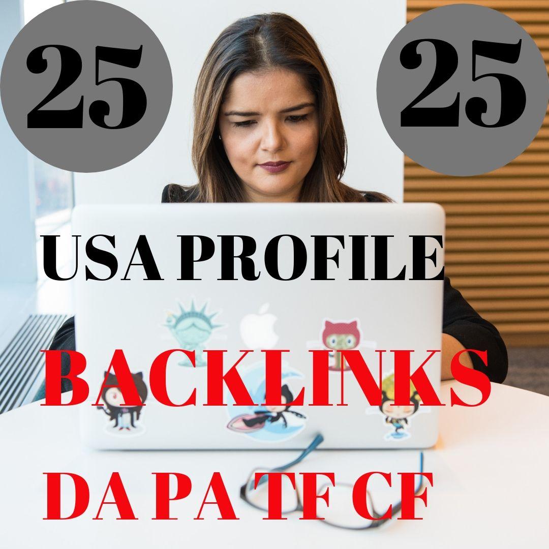 Create 25 USA profile backlinks On High PR,  Da Sites