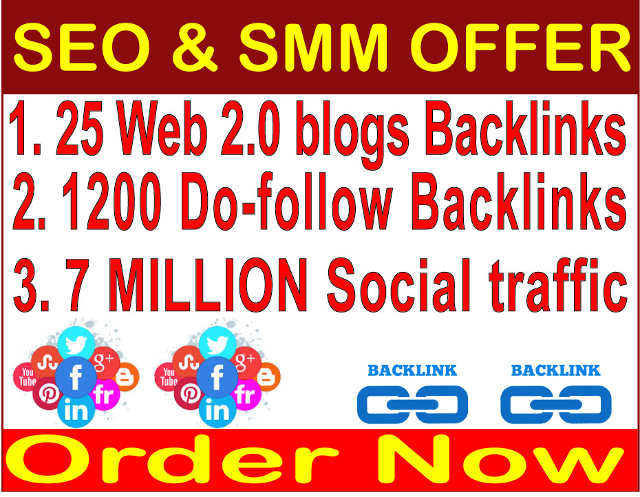 Rank your website 1 in Googel- 25 Web 2.0 blogs backlinks- 1200 Do-follow backlinks-7 Million Social traffic