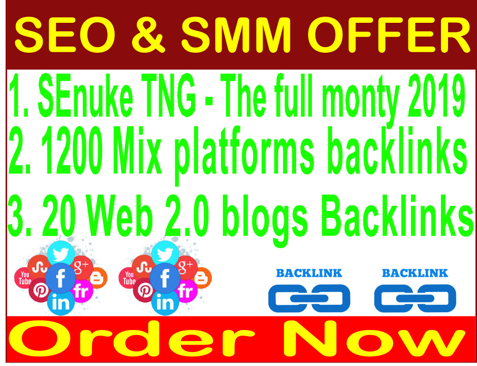 Rank your website- SEnuke TNG - The full monty 2019- 1200 Mix platforms backlinks-20 Web 2.0 blogs