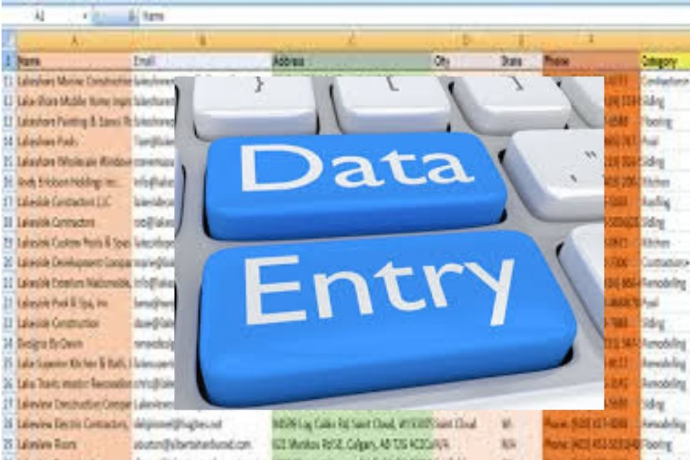 I can do any type of data entry and for you.