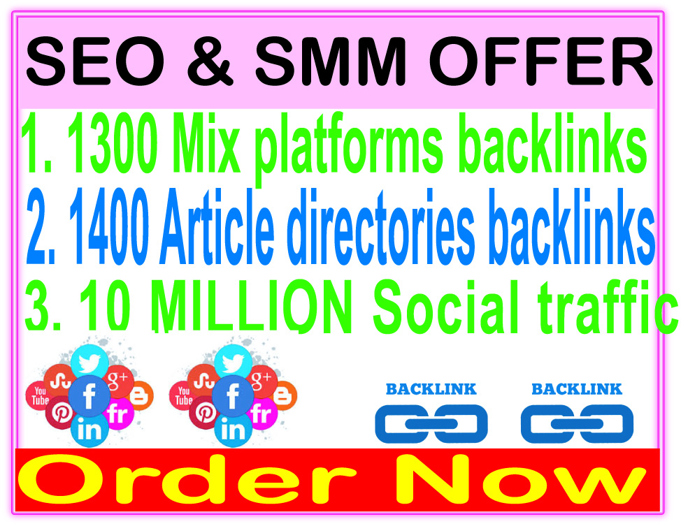 Indexer SEO campaigns -1300 Mix platforms backlinks-1400 Article directories backlinks-Promotion 10 Million social People