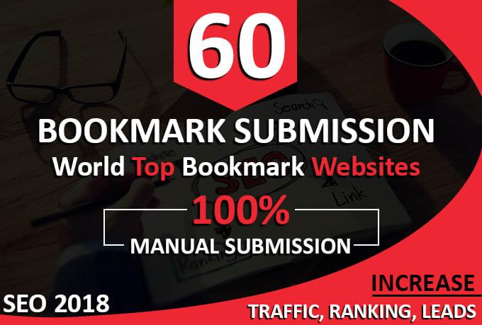 Manually Build 60 SEO Social Bookmarks Backlinks On High DA