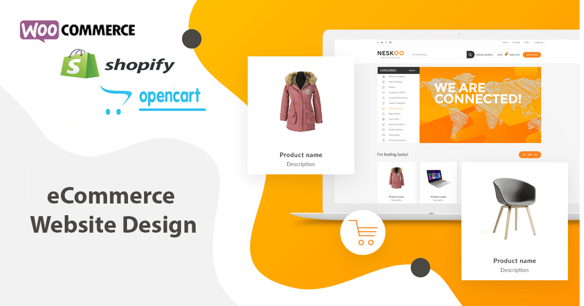Create Stunning Ecommerce Website With Shopify,  Woocommerce