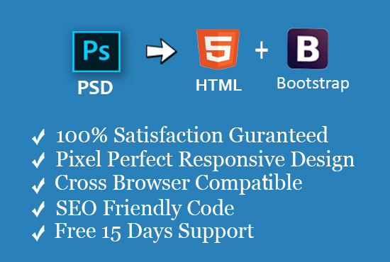 Convert Psd to Html with Bootstrap4 Responsive