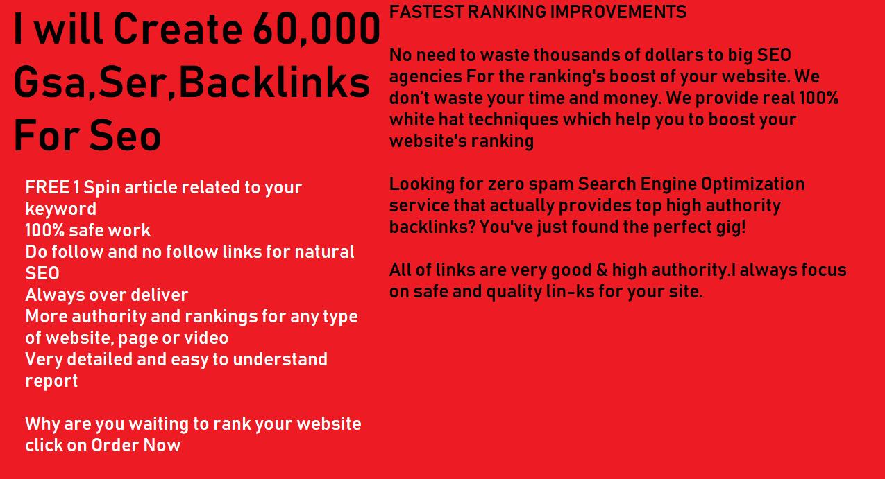 Create 60,000 Gsa,Ser,Backlinks For Seo Fastest Ranking in Google 20 High Quality+60k tier 2 Links