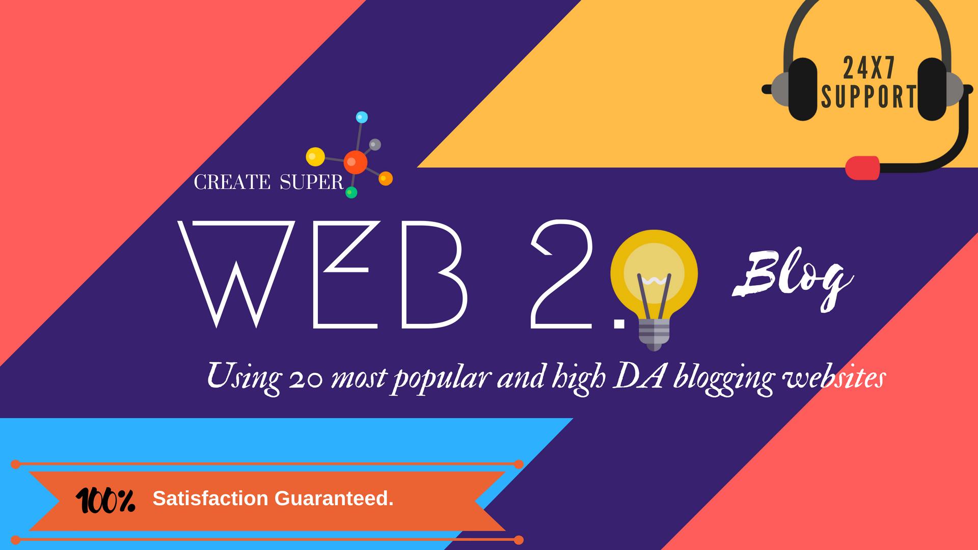 Create 25 High quality web2.0 blog backlinks