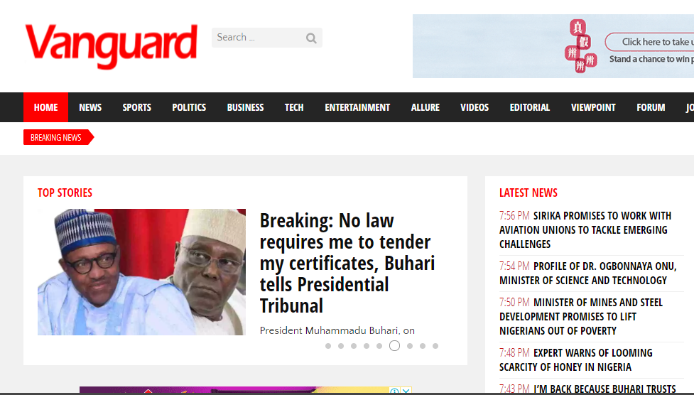 Give you a guest post on Nigeria News, Sport and Business from Vanguard Newspaper -  Vanguardngr.com