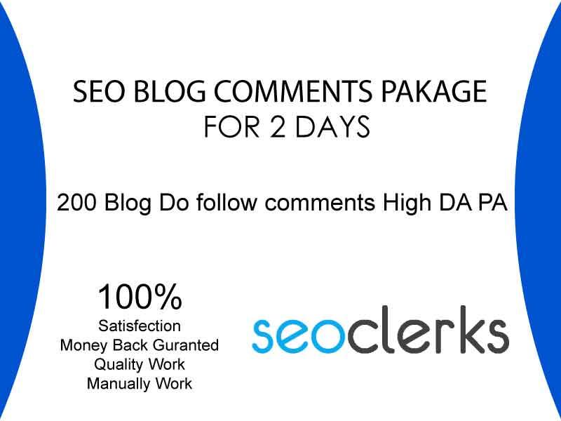 Do Manually 200 Seo Blog Comments Dofollow Link On High Da Pa