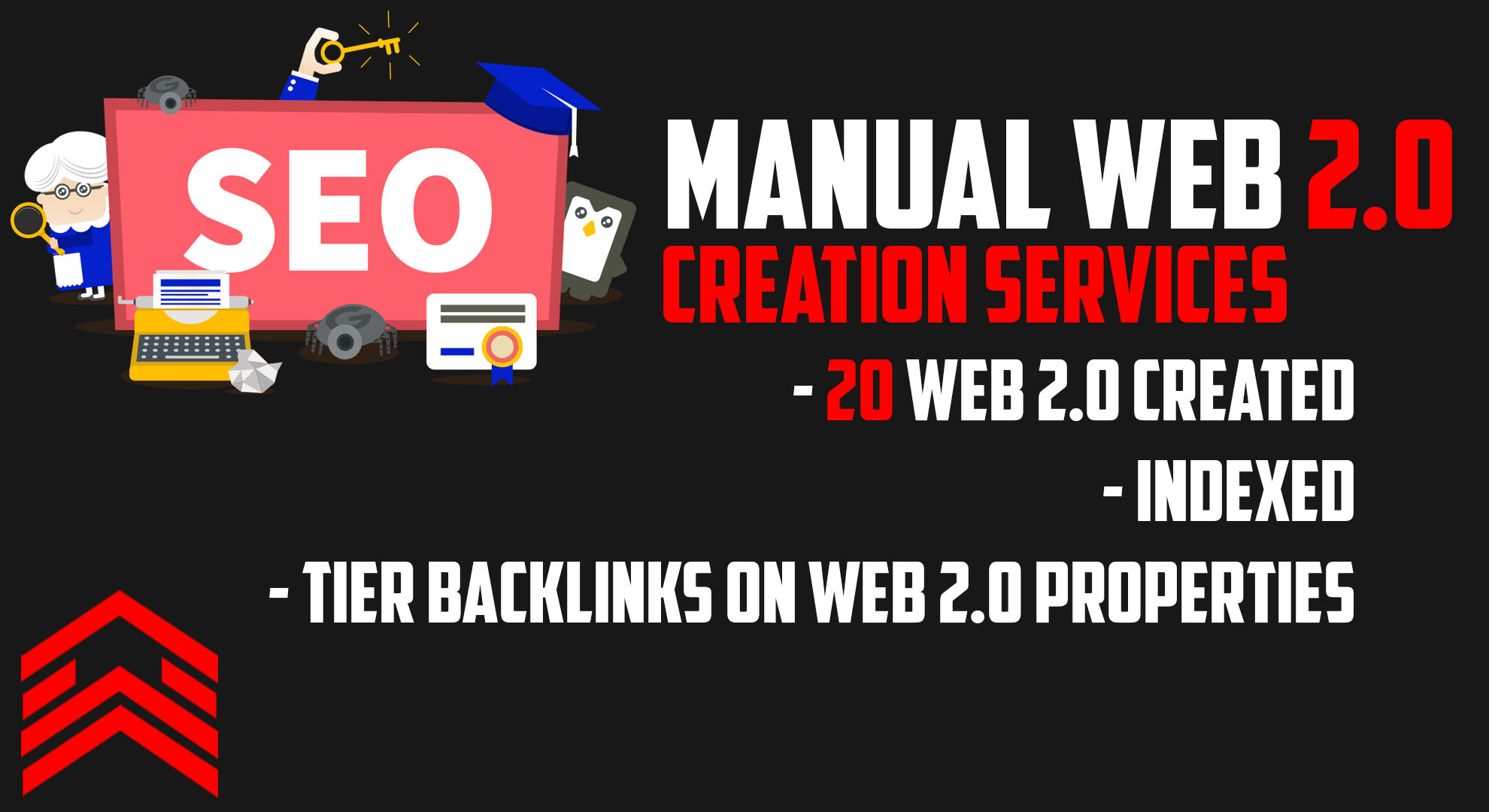 20 Manually created Web 2.0 properties - INDEXED with Tier links