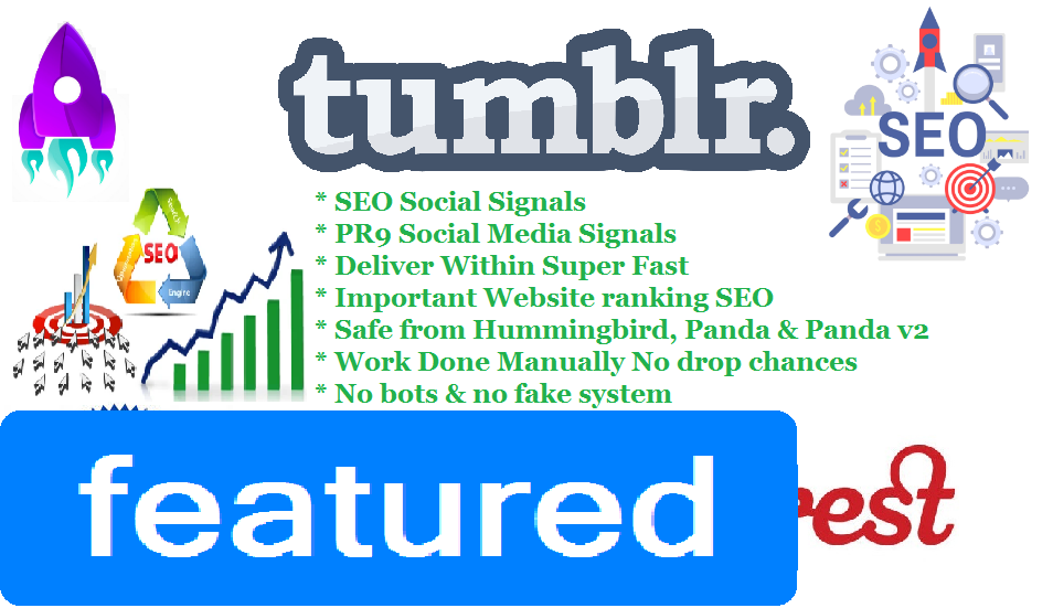 Get You Top Sites 130 Tumblr+1000 Pinterest share Real SEO Social Signals for Cpa Affiliate Marketing & Business Promotion benefit To boost SEO Traffic Share Bookmarks Important Google Ranking Factor