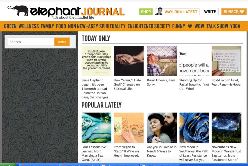 Get you backlink on ElephantJournal. com DA-75,  PA-62 Dofollow