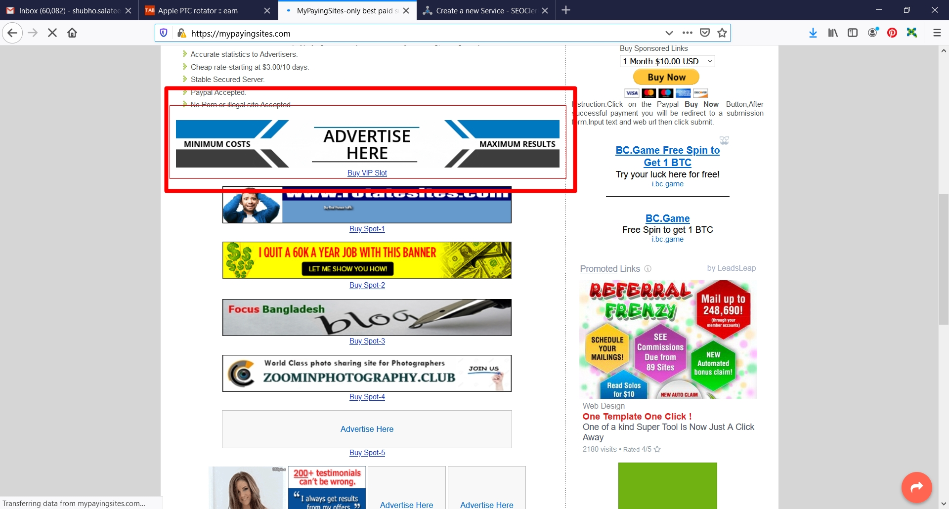Your Website banner 728x90 on the top of my ranked site for 1 month