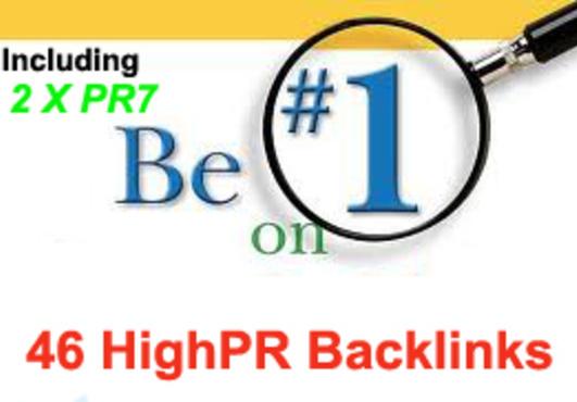 Total 46 Highpr Backlinks 2xPR7 + 5Pr6 + 10Pr5 + 10Pr4 + 19Pr3