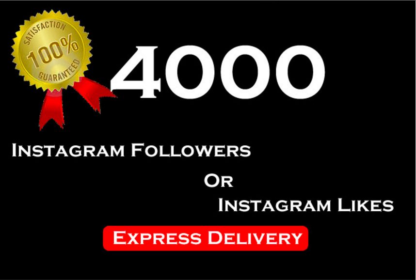 add 4,000 Instagram FOLLOWERS Or LIKES Within Few Hours