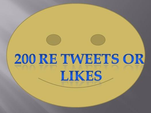 200 Tweets or Like only for