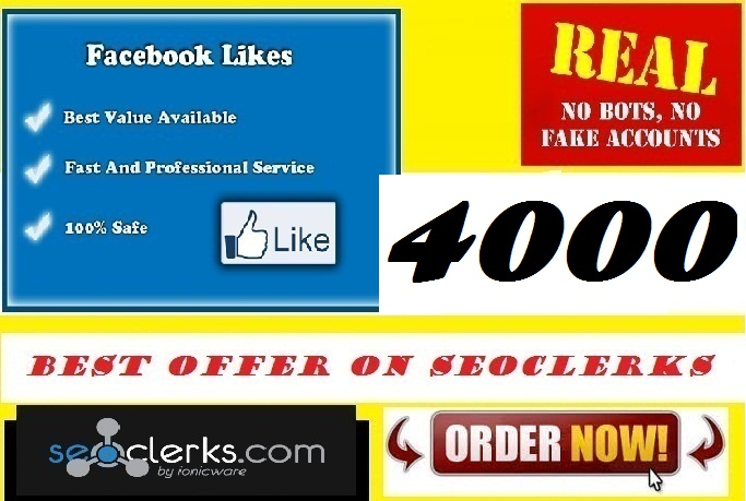 Add 4000 Real Facebook likes OR UNLIMITED Website traffi... for $5